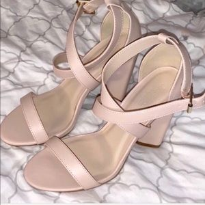 Charlotte Russe nude strappy chunky heels  8